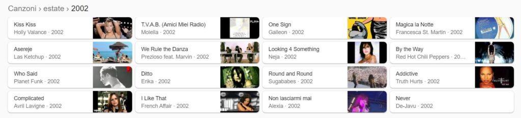 Le canzoni dell'estate 2002 secondo Google